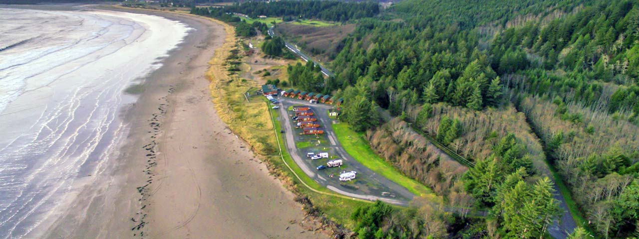 Hobuck Beach Resort Cabins from Air
